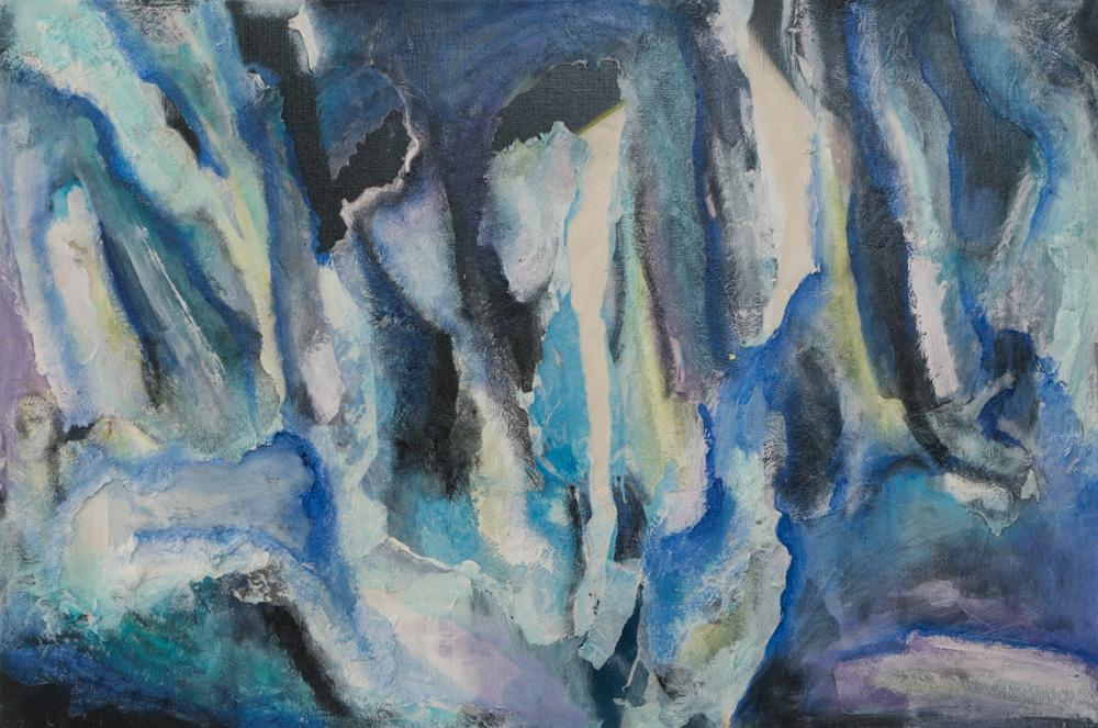 Spelonken van de geest, 90 x 60 cm, acryl/papier-maché op doek. € 600,-