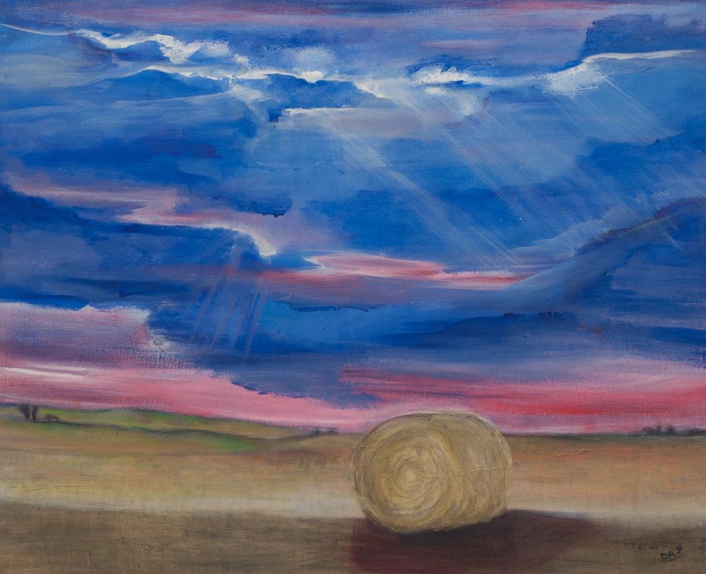 Belgisch landschap, 85 x 70 cm, acryl op doek. € 600,-