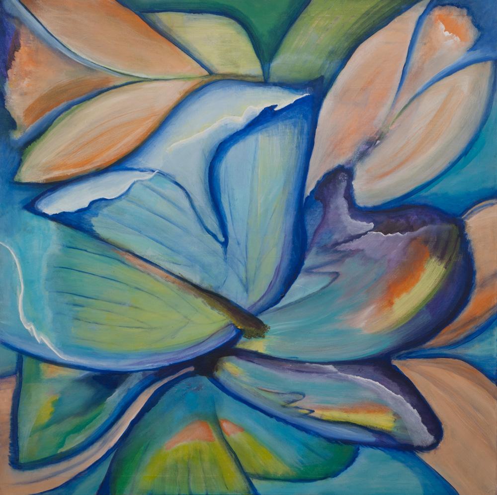 Vlinders, 100x100, acryl op doek, niet te koop