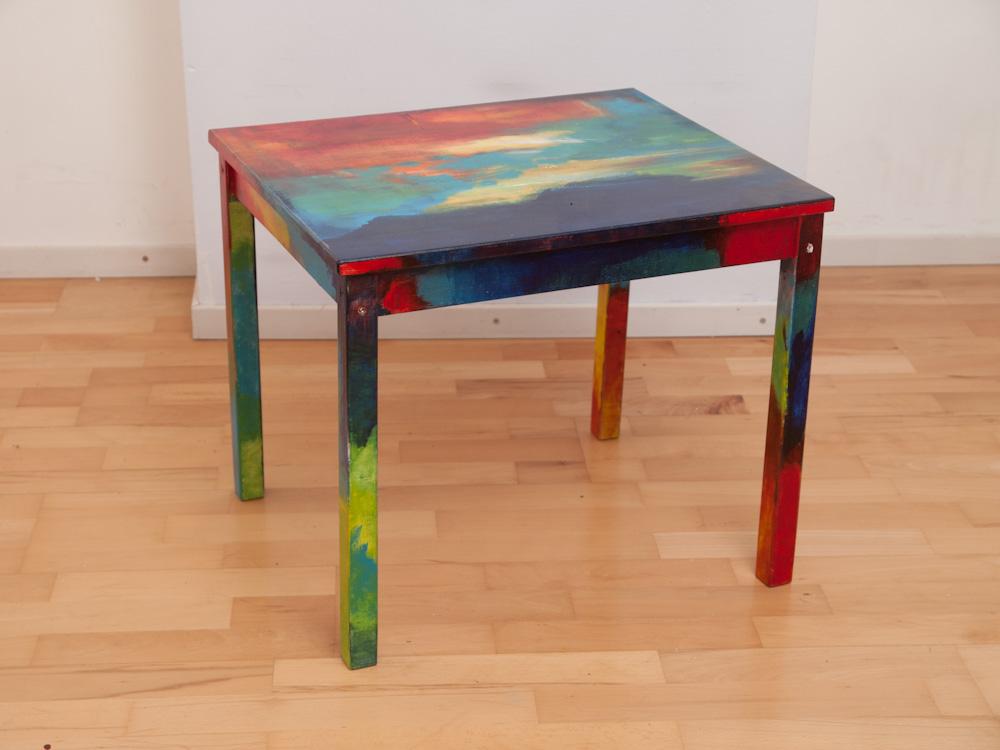 Tafel: Het leven zelf, 50 hoog, 60 breed, 50 diep, acryl op hout, € 450,-