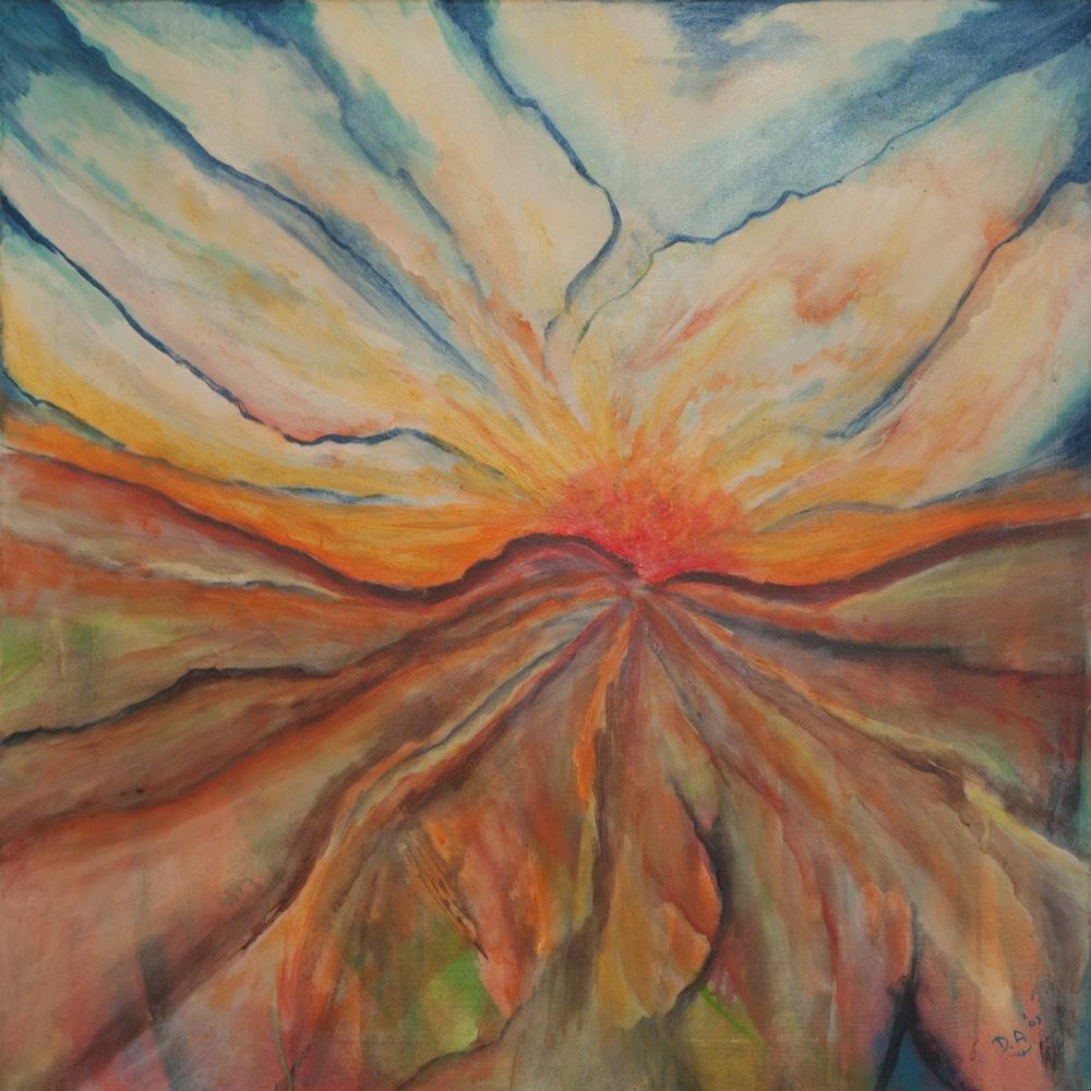 De zon , de aarde, 75x75, acryl op doek, € 600,-