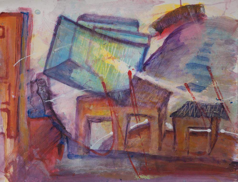 Tafelberg, 65x50, acryl op papier, € 275,-