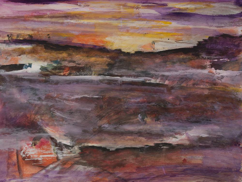 Landschap, 65x50, acryl op papier, € 275,-