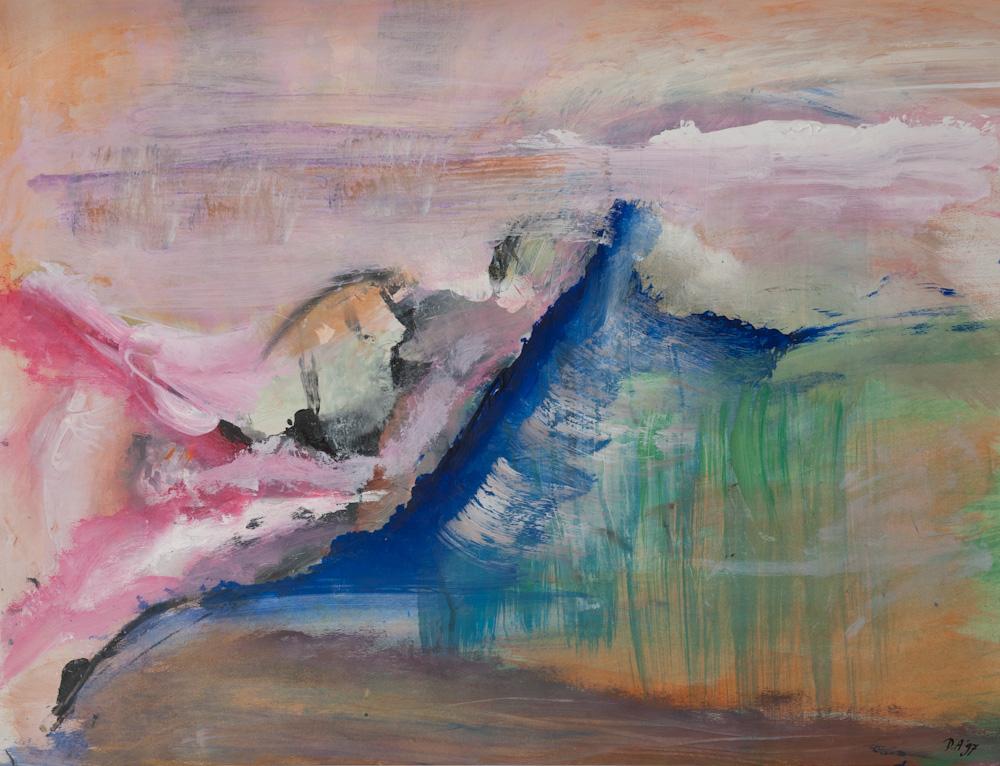 Emotioneel landschap 4, 65x50, acryl op papier, € 275,-