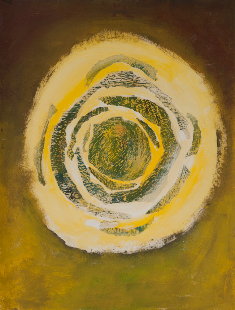 uit de serie: De aarde, de zon, 65x50, acryl/collage op papier, € 275,-