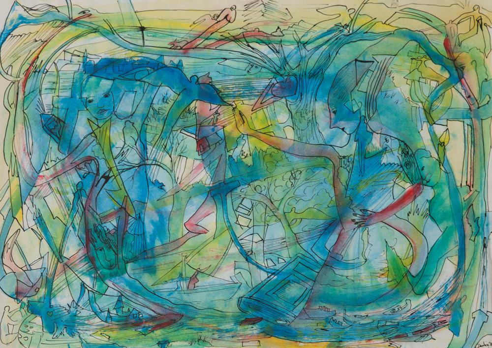 uit de serie: Openbaringen, 42x30, acryl op papier, € 200,-
