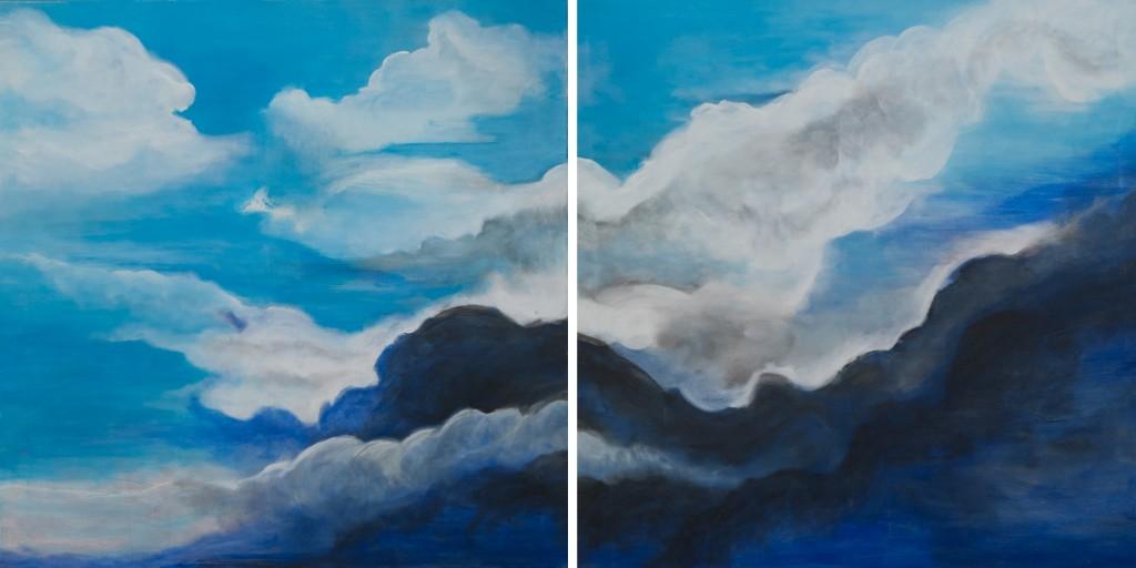 Tweeluik: In de wolken, 75x75 per stuk, acryl op doek, € 795,- samen