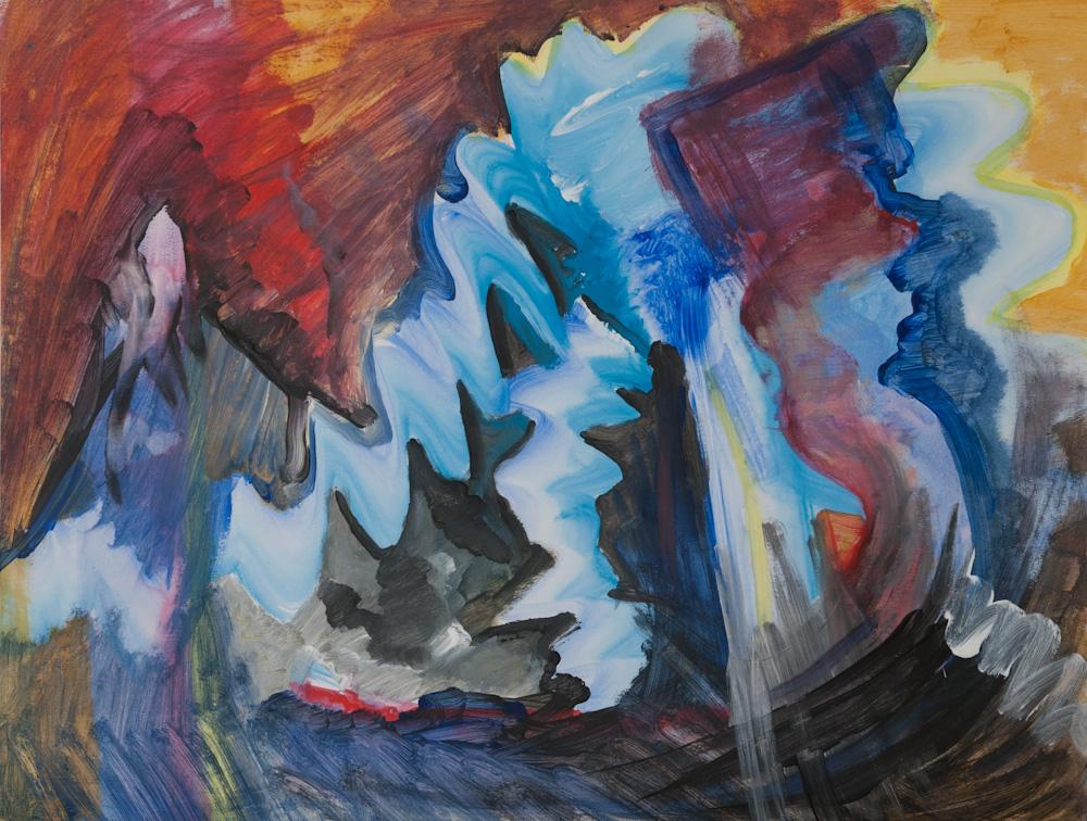 Eruptie, 65x50, acryl op papier, € 275,-