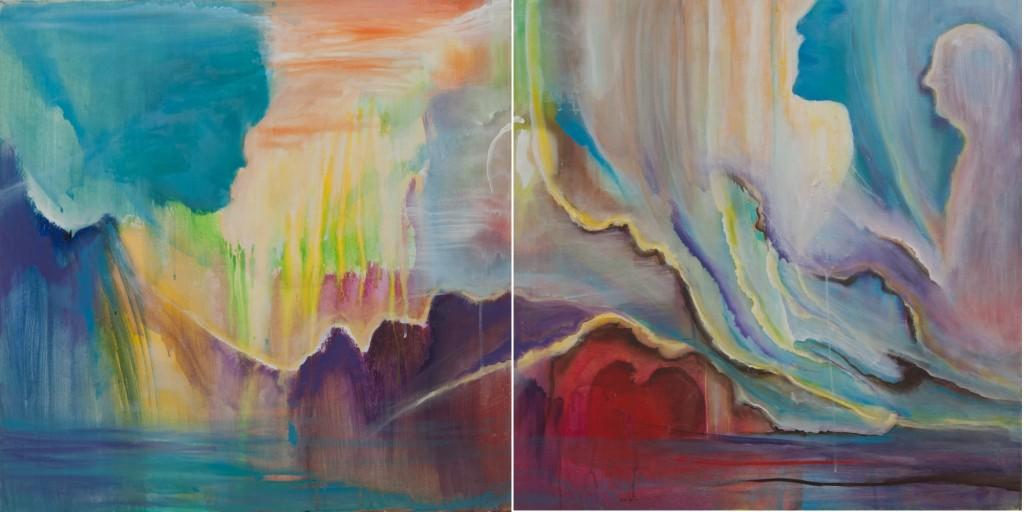 tweeluik: Verbinding (tussen man en vrouw), 75x75 per stuk, acryl op doek, € 800,- samen