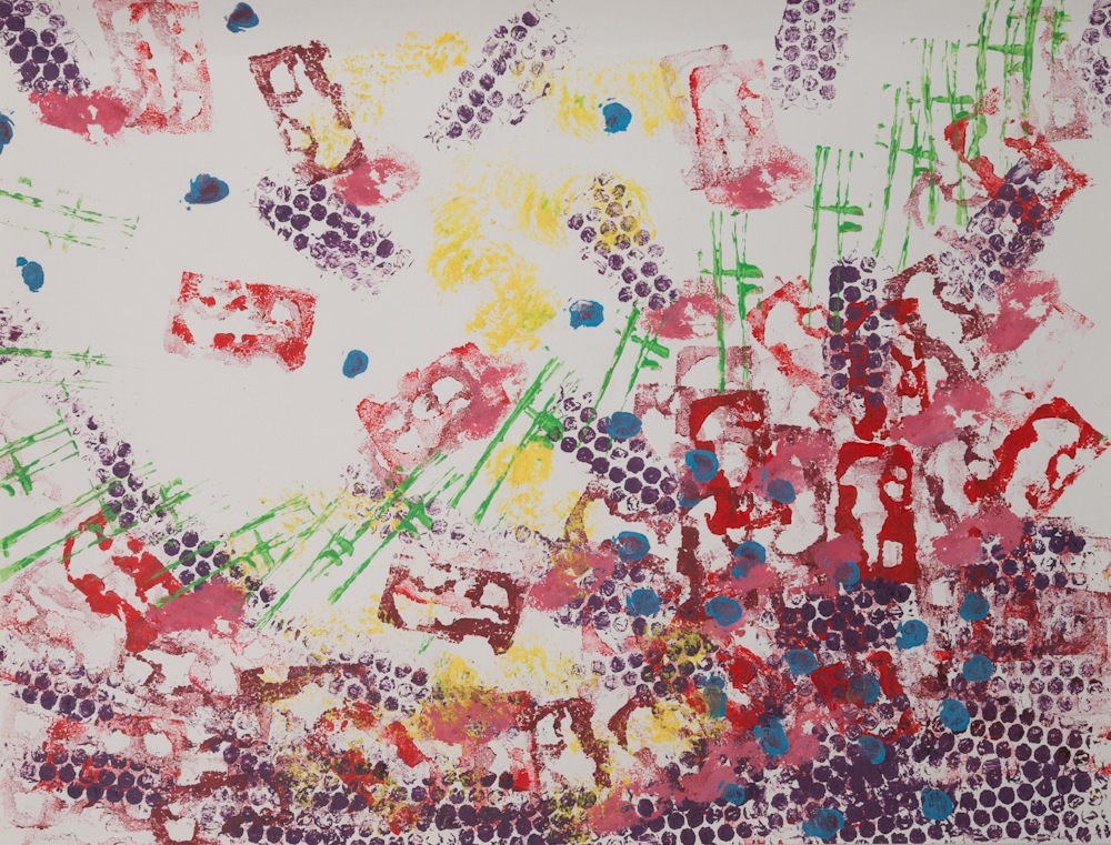 uit de serie: Beweging, 65x50, acryl op papier (monoprint), € 275,-