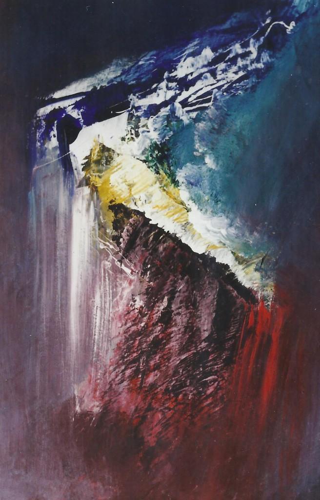 Water uit de rots, acryl op papier, 65 x 50 cm. € 250,-